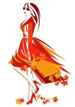 autumn fashion: autumn season shopping vector design - beautiful woman with bags among bright foliage Illustration