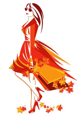 autumn season shopping vector design - beautiful woman with bags among bright foliage Illustration