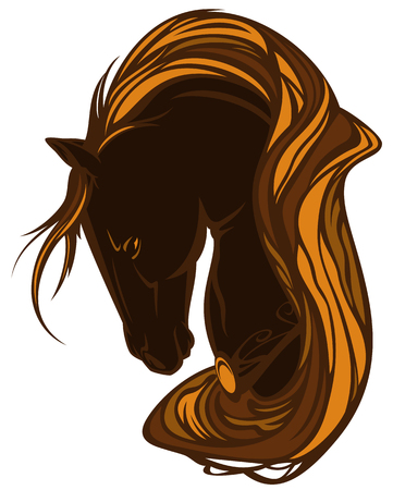 bay horse head with long golden mane - beautiful animal vector design Illustration