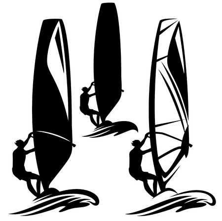 windsurf: windsurfer silhouette design element - black and white vector collection