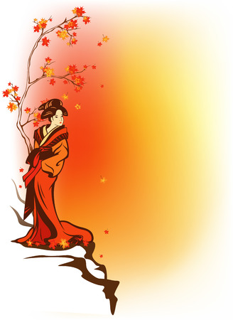 beautiful geisha wearing traditional kimono standing on cliff among autumn trees - fall season vector background with place for your text