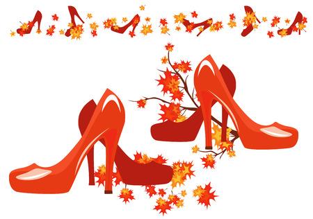 autumn woman: autumn season shoes decor - bright vector fashion design elements Illustration