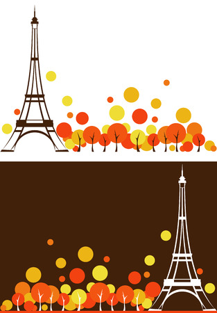 autumn season Paris city background - France vector design elements Vector