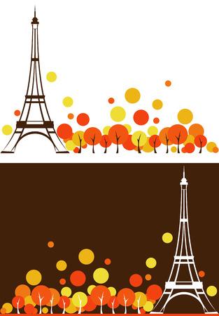 national parks: autumn season Paris city background - France vector design elements Illustration