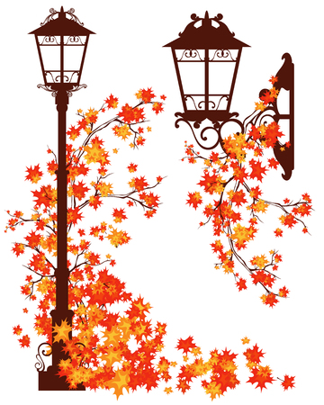 street lamps: autumn in the city - decorative street lights among bright fall season foliage of maple tree - vector design elements