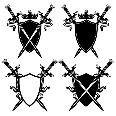 swords and shields with crown black and white design - security emblem vector collection Çizim