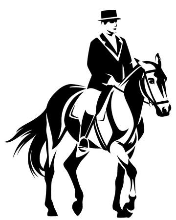 caballo y jinete realizar doma - diseño vectorial deporte ecuestre blanco y negro Ilustración de vector