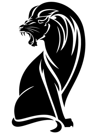 sitting lion black and white vector outline - elegant big cat design