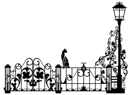 cat watching bird sitting on garden fence - black and white vector design element