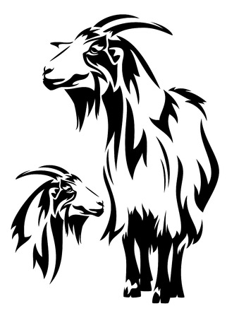 goat black and white vector design (year 2015 symbol) - standing farm animal and head outline Vector