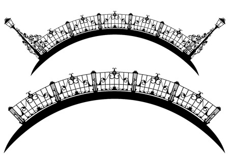 span: elegant city bridge black and white design  Illustration