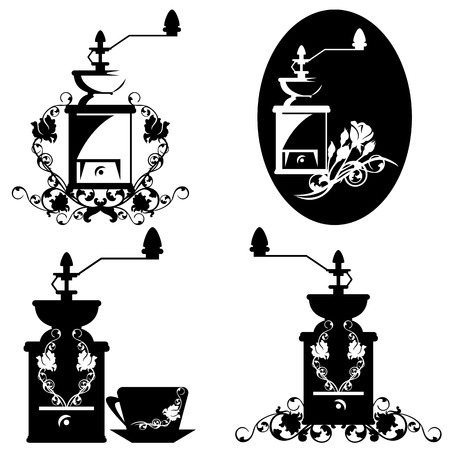 grind: coffee grinder and rose flowers design elements - black and white set