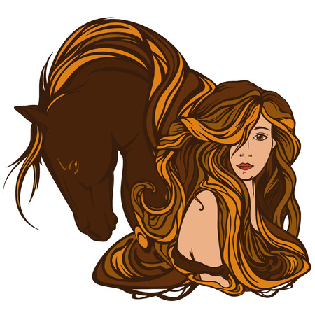 beautiful woman with horse - art nouveau style portrait of beauty with long hair