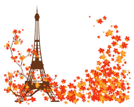 french culture: Eiffel tower and bright fall season leaves Illustration