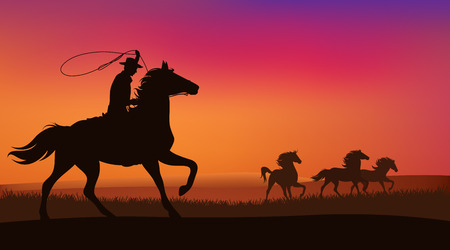 wild west landscape - cowboy chasing the herd of wild mustang horses at sunset Vettoriali