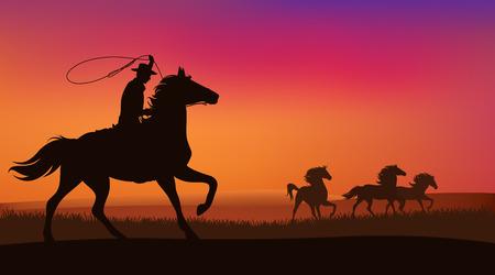 silvestres: paisaje salvaje oeste - vaquero persiguiendo la manada de caballos mustang salvajes en la puesta del sol