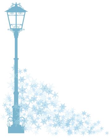 clipart street light: winter season design element - city street light among flying snowlakes