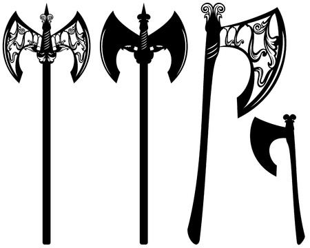 axes decorative design set - black ornate weapon collection over white Vector
