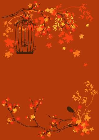 autumn season garden background  Vector