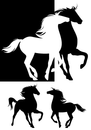 pair of horses silhouette design - beautiful animals black and white set Illustration