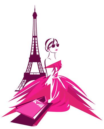 elegante: compras de moda em design Paris - mulher bonita usando um vestido rosa com sacos perto da Torre Eiffel