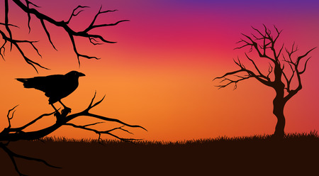halloween evening background with raven bird and bare twisted tree branches silhouette Vector