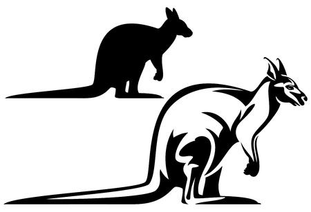 fauna: profile kangaroo black and white vector design - australian fauna