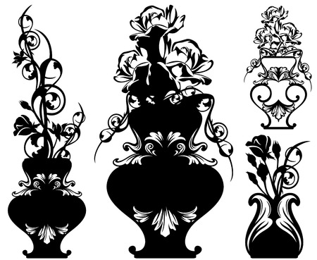 vases with rose flowers bunches - black and white floral design set Vector