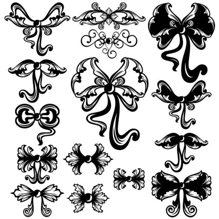 elegant swirl bows black and white design set - vector collection Vector
