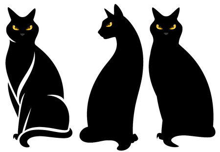 yellow black: halloween black cat set - sitting graceful animals vector collection