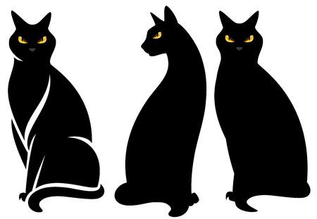 halloween zwarte kat set - zitten sierlijke dieren vector collectie