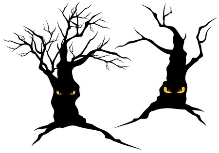 b�se augen: Gruselige Halloween B�ume mit b�sen Augen set - Monster Vektor-Silhouetten