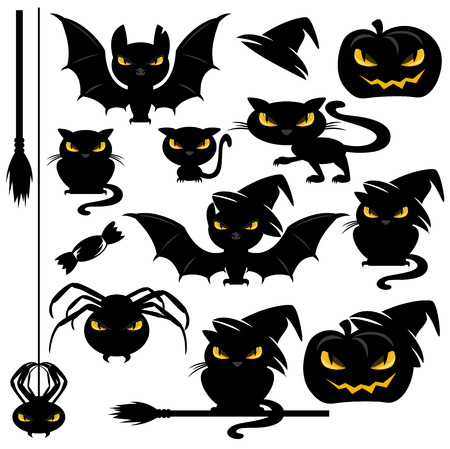 hideous: halloween monster design elements set - funny vector animals - cats, bats, spiders and pumpkins collection Illustration