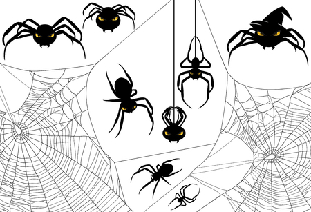 hideous: Halloween spider design set - monster arachnids among spiderweb vector silhouettes Illustration