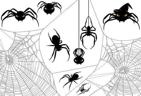 Halloween spider design set - monster arachnids among spiderweb vector silhouettes Illustration