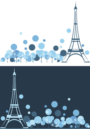 french culture: winter Paris vector background with eiffel tower among trees and place for your text Illustration
