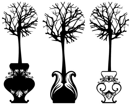 Potted plants: tree in ornate pot decorative vector set - black and white detailed design elements