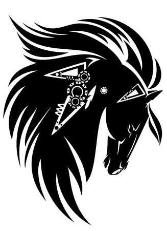 Black horse head with long mane tribal design - black and white vector animal Vector