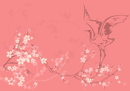 graceful: spring season vector background with crane bird among sakura tree flowers