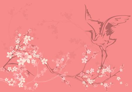 spring season vector background with crane bird among sakura tree flowers