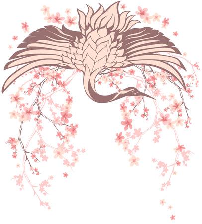 wingspread crane bird with blossom sakura branches - spring season vector design element Illustration