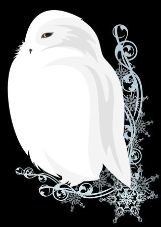 white snowy owl bird sitting among snowflakes - winter season festive vector decor
