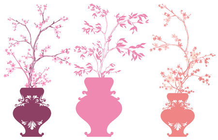 Set Of Vases With Pink Sakura Flowers Branches Collection Of