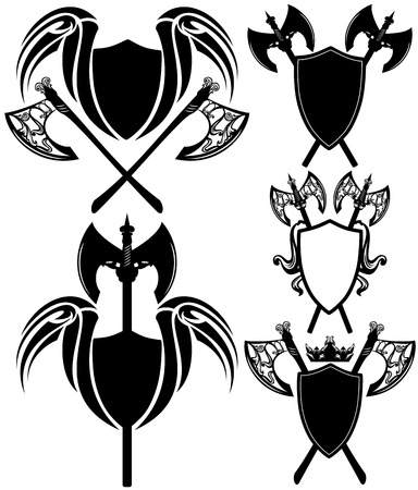 halberd: shields and axes detailed design elements - black and white vector emblems collection