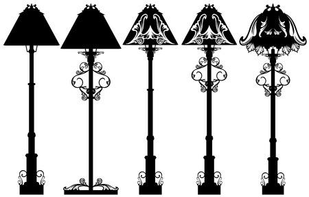 lámpara de pie de diseño conjunto de vectores en blanco y negro - las siluetas de lámpara de pie