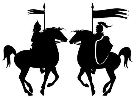 middeleeuwse ridder riding steigerend paard zwart silhouet over wit Stock Illustratie