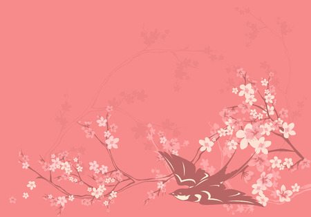 wingspread: pink blossom spring background with swallow and cherry flowers - vector design elements