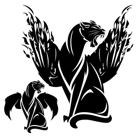 black panthers: furious winged panther - black and white fantasy animal vector design Illustration