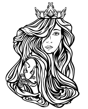 beautiful queen with long gorgeous hair - black and white art nouveau style vector design