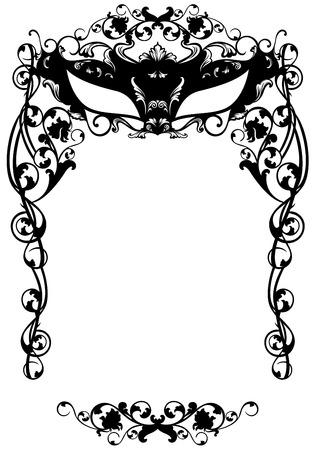 カーニバル マスク - 黒と白の花のデザインと仮装パーティーへの招待
